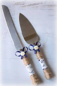 Navy Blue Rustic Wedding Cake Knife Server Gift Set Burlap Twine Bridal Shower Includes