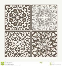 Set Of 4 Square Lace Floral Vintage Designs Vector Illustration