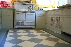 Vintage Kitchen Linoleum Floor With Checkerboard Pattern Checkered Black