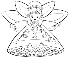 Free Coloring Pages For Christmas Retro Angels The Graphics Fairy Disney