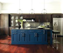 Blue Cabinets Kitchen Dark Wood With A Island Cream Colored Houzz
