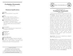 resume for firefighter paramedic firefighter paramedic resume template free exle vinodomia