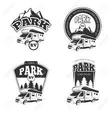 RV And Campers Vector Emblems Labels Badges Logos Set Camper Park Label