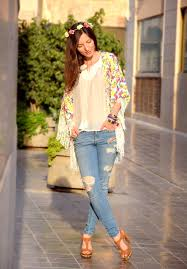 Hippie Girl In A Boho Chic Style Wearing Distressed Jeans Kimono With Fringe And Zara