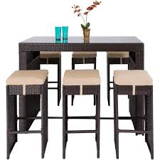 Outsunny Patio Furniture Instructions by Best Choice Products 7pc Rattan Wicker Bar Dining Table Patio
