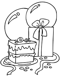 Birthday Cake Coloring Pages With Gift And Balloons