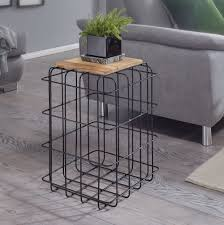 finebuy beistelltisch 35x52x35 cm mango massivholz metall dekotisch industrial style echtholz tischchen wohnzimmer holztisch eckig