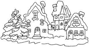 Winter Village Coloring Pages
