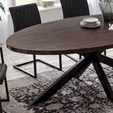 esstisch byra akazie massivholz braun oval gestell in schwarz