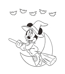 Disney Halloween Coloring Pages To Print by Print Minnie Flying Witches Disney Halloween Coloring Pages Or