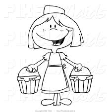 Vector Clipart of a Black and White Milk Maid