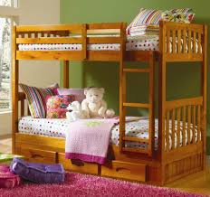 Twin Over Twin Bunk Beds With Trundle by Discovery World Honey Pine Twin Over Twin Bunk Bed With Trundle