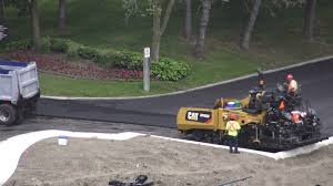 Dump Truck Backing Up To Load Asphalt To Paver Machine Stock Video ...