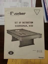 100 Kd Pool Fischer Corona KD Table Info