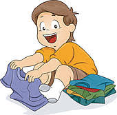 Clipart Of Boy Putting Clothes Away