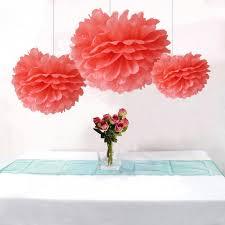 Bulk 12pcs Coral Party Wedding Decoration DIY Tissue Paper Flower Pom Poms Birtday Bridal Shower Hanging