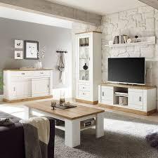 wohnzimmer set in pinie weiß mit wotan eiche osimo 61 im landhausstil mit sideboard und couchtisch