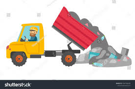 100 Rubbish Truck Caucasian White Man Driving Garbage Stock Vector Royalty Free