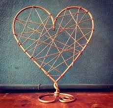 Custom Made Rustic Wire Wrapped Heart Wedding Cake Topper