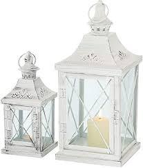 2er set innen außen laternen balkon windlichter metall weiß shabby chic glas tür wohnzimmer dekoration