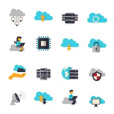 100 Flat Cloud Computing Icons Set Download Free Vector Art Stock