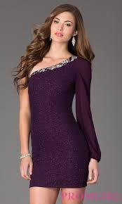 one sleeve short purple homecoming dress promgirl
