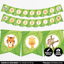 Safari Baby Shower Banner Jungle Theme Bunting Banner Etsy