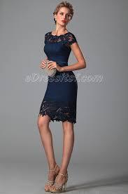 lace short sleeves dark blue mother of the bride dress edressit