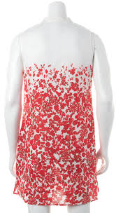tory burch red white floral linen button down sleeveless shift