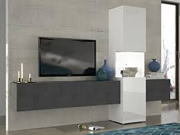 wohnwand mediawand wohnzimmer schrank fernseh schrank tv lowboard weiß hochglanz schieferoptik modern hängend glas vitrine tecnos