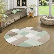 designer teppich pastell grün beige karo rund