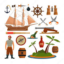 100 Pirate Ship Design Vector Set Of Sea Pirates Objects Icons And Design Elements In Flat