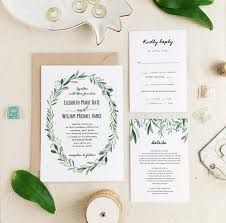 Greenery Wedding Invitation Template O Printable Suite Modern Rustic Calligraphy Word Or Pages MAC PC 2706528