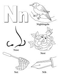 My A To Z Coloring Book Letter N Page