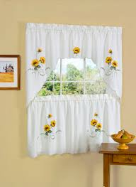 French Country Style Kitchen Curtains by Sunflower Kitchen Curtains Ebay Embroidered Curtain 36 Loversiq