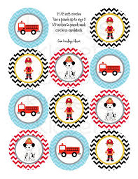 100 Fire Truck Cupcake Toppers Printable Party Circles Truck Party