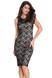 vogue black fashion lace knee length dress