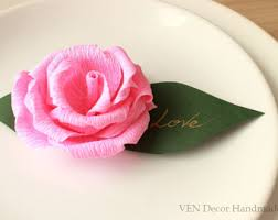 10 Wedding Rose Place Cards Flower Name Table Decor Party