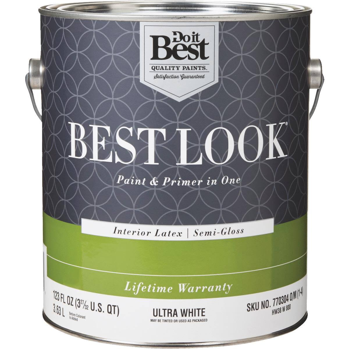 Best Look Latex Paint & Primer In One Semi-Gloss Enamel - Ultra White, Interior, 3.53l