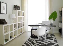 modern home office design with black and white desk and with white