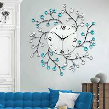 3d große wanduhr moderne design dekorative wohnkultur wand uhren wohnzimmer 54 stücke diamanten schmiedeeisen stille große uhr