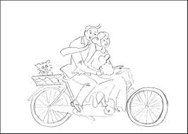 Free Printable Wedding Coloring Page Cute Couple On The Bike