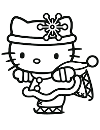 Cute Hello Kitty Skating Coloring Page