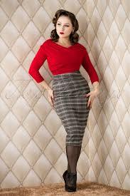 50s juliet pencil skirt in grey gingham