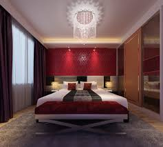 Alluring Red Bedroom Ideas With White Cover Bed Sheet Added Floral Wallpaper Also Benches