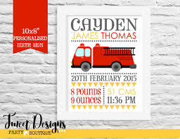 FIRE ENGINE BIRTH Print - Printable Nursery Wall Art, Fire Truck ...