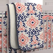 navy and coral ikat 3 piece crib bedding set carousel designs
