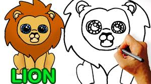 Very Easy How To Draw Cute Cartoon Lion Art For Kids