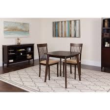 Our Windsor 3 Piece Espresso Wood Dining Table Set With Rail Back Chairs