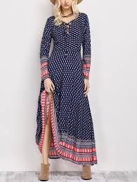 lace up long sleeve retro print maxi dress in blue xl sammydress com